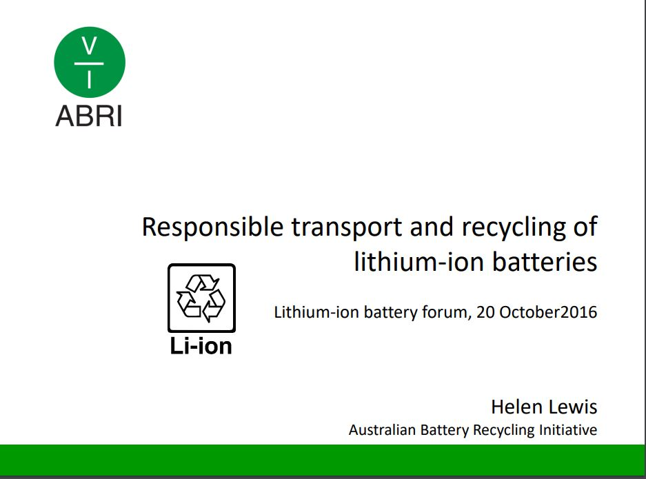 Responsible transport and recycling of lithium-ion batteries presentation – Helen Lewis